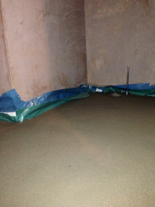 Walls plastered. Floor completed.